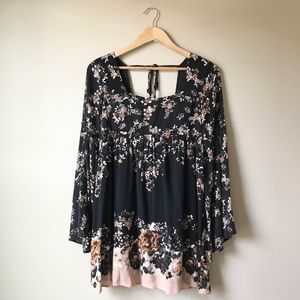 Free People black floral baby doll dress